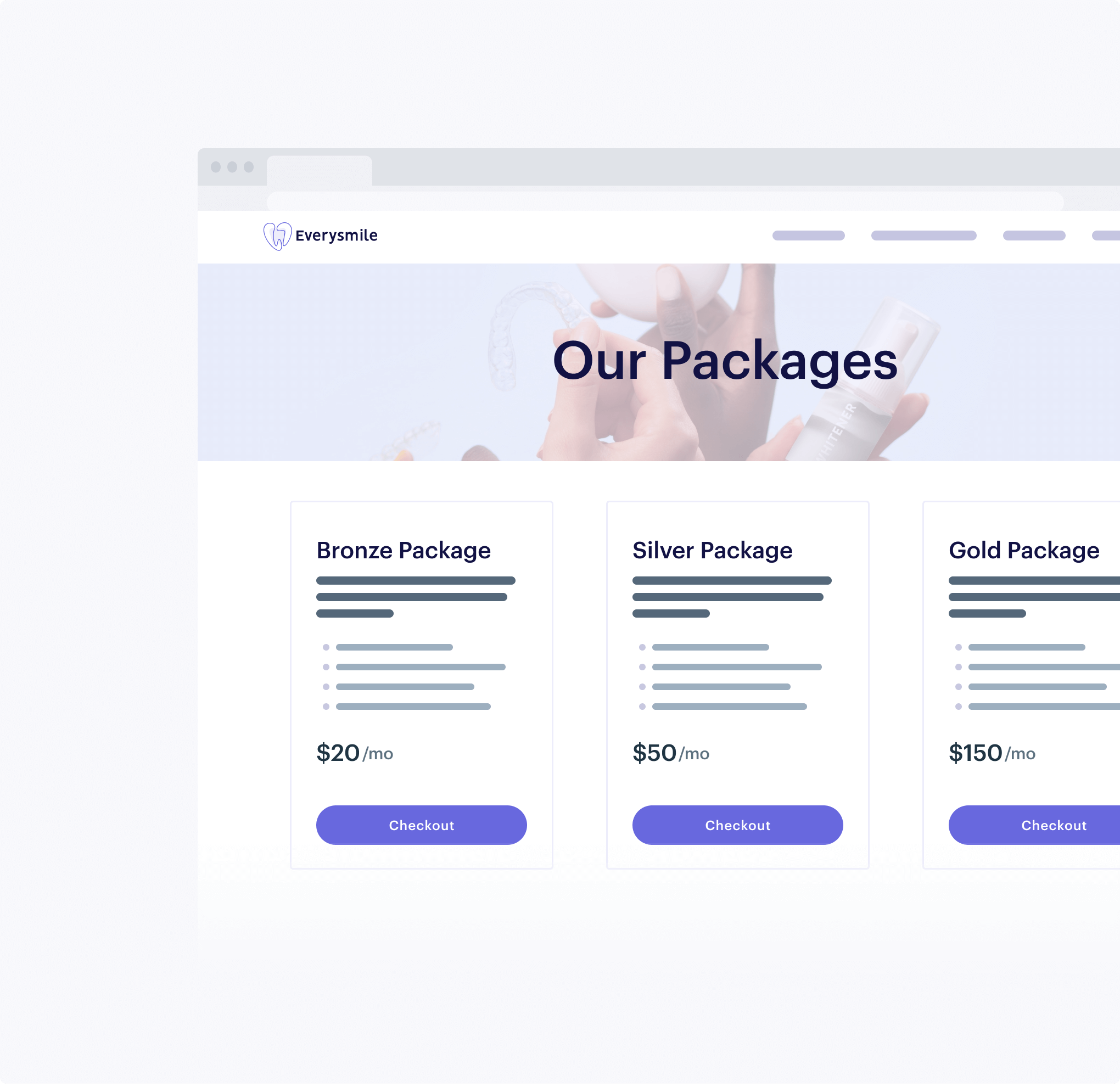 Website with tiered packages leading to MoonClerk checkouts