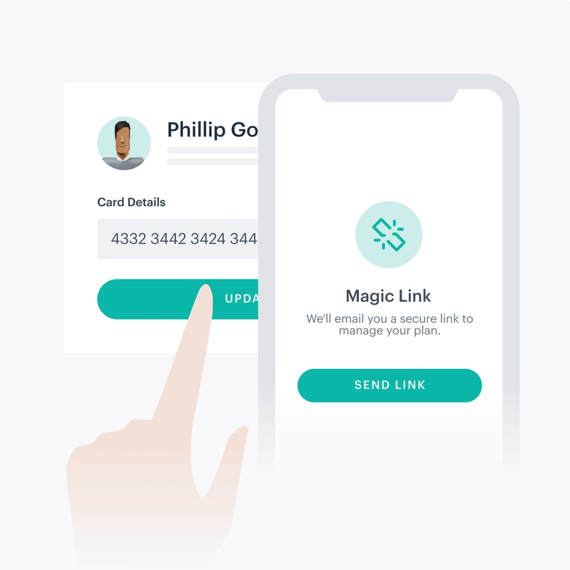Phone with magic link screen connected to payer portal