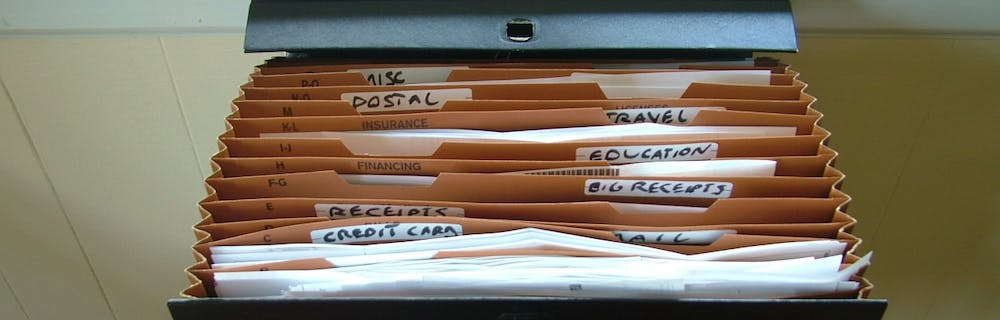 Filing cabinet full of files