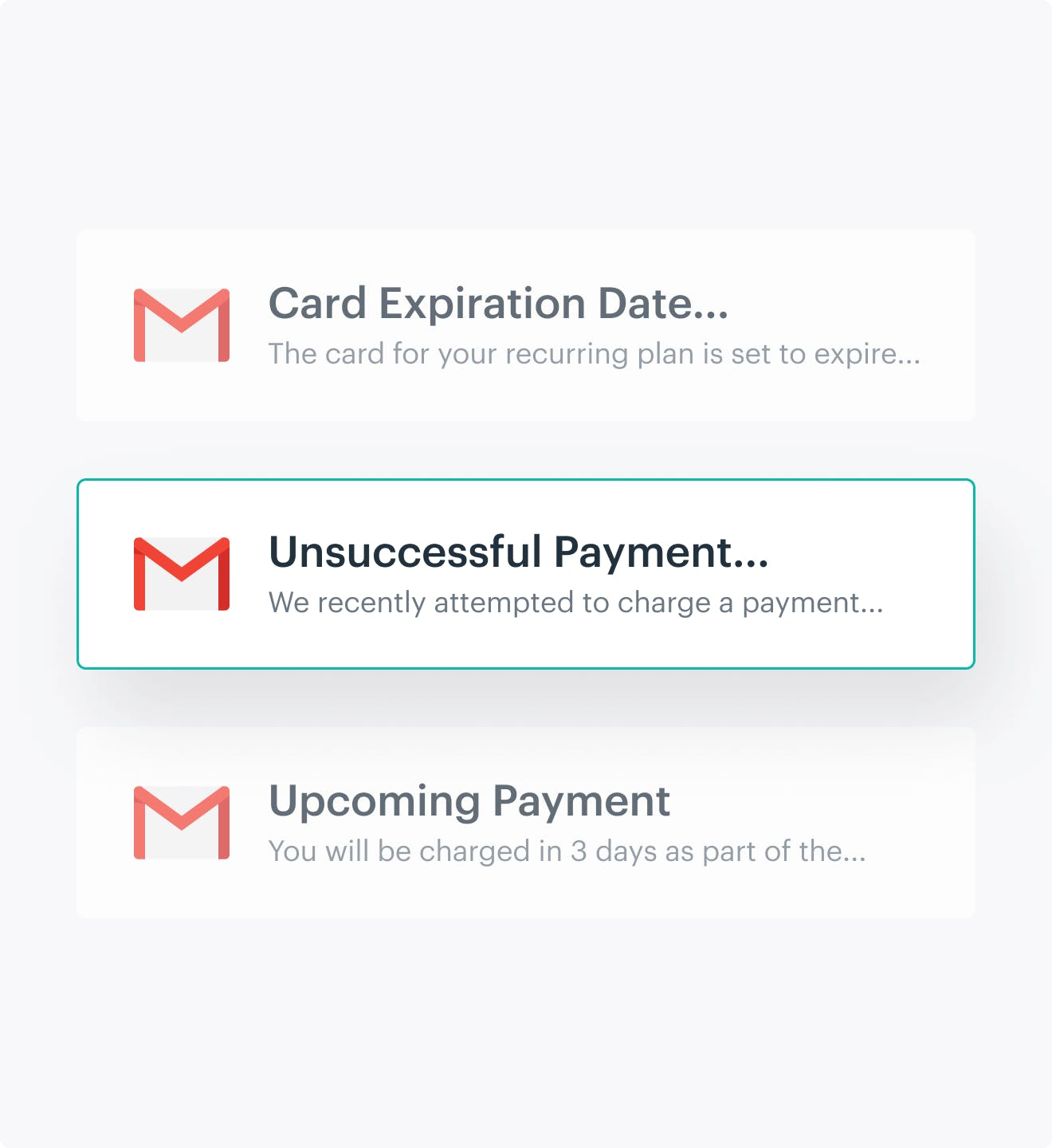 Email stack with unsuccessful payment email highlighted