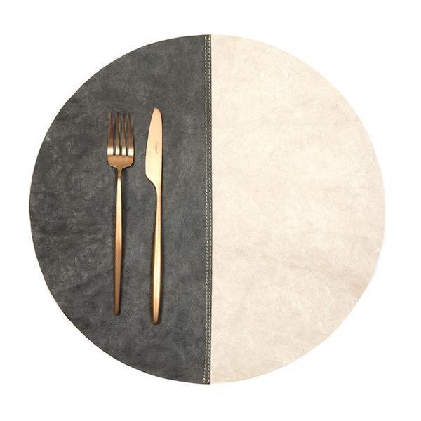 UASHMAMA Placemat Round Spezzato Dark Grey