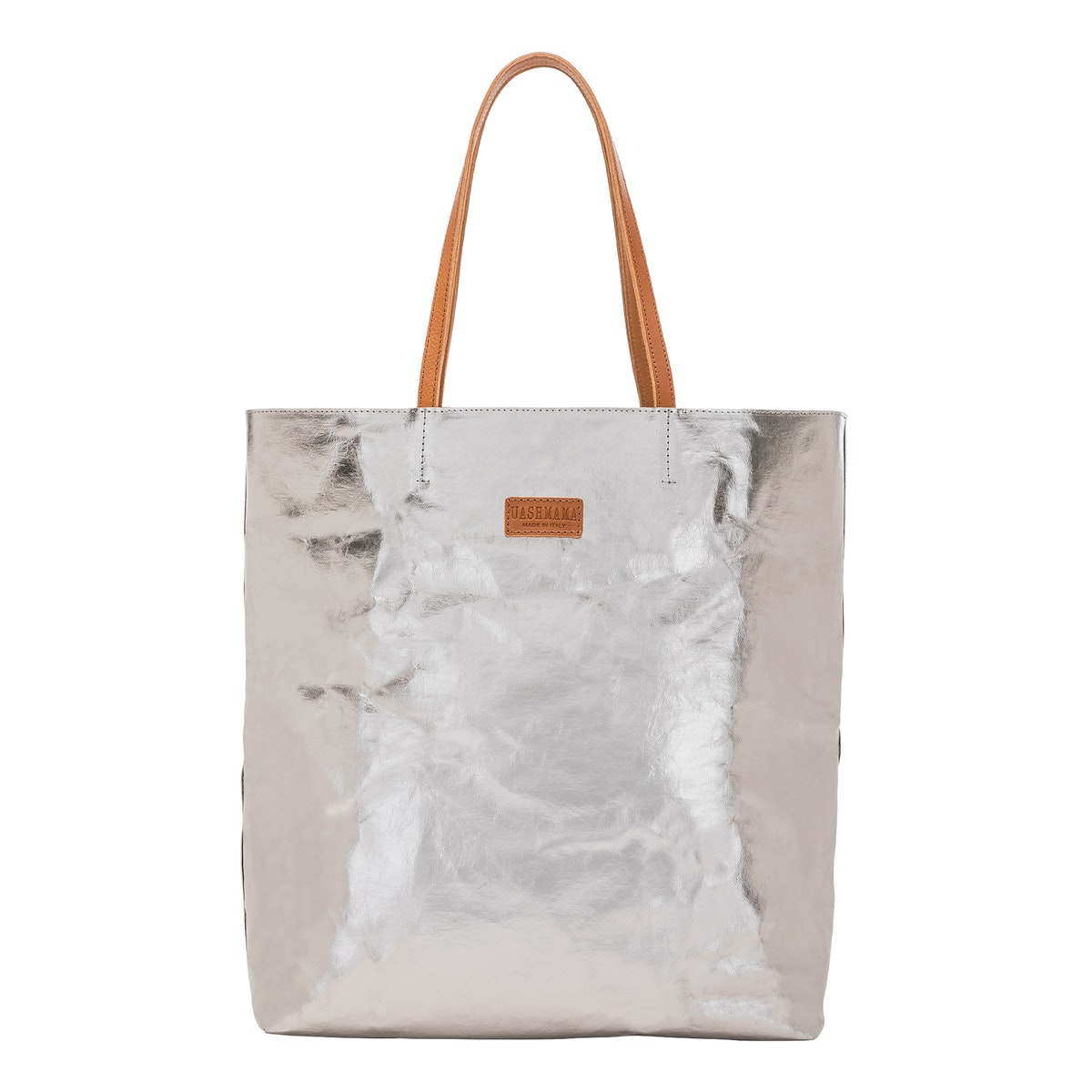 UASHMAMA Tosca Bag Metallic Metallic Acciaio