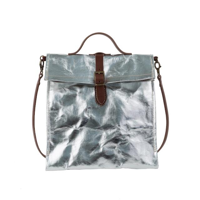 UASHMAMA Lunch Bag Tracolla  Metallic Metallic Silver