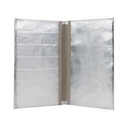 UASHMAMA Wallet Large Metallic Metallic Silver