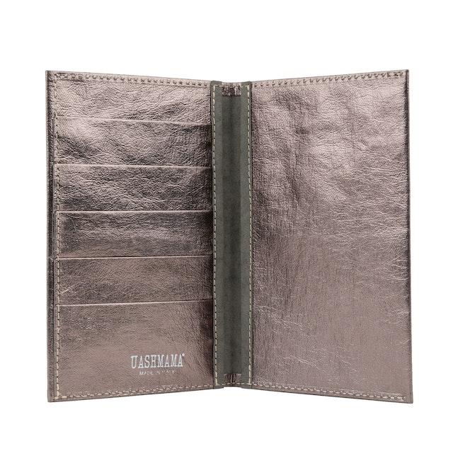 UASHMAMA Wallet Large Metallic Metallic Peltro