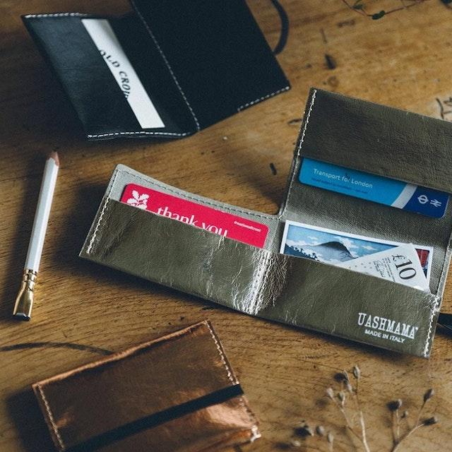 UASHMAMA Card Holder Metallic Metallic Platinum
