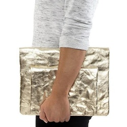 UASHMAMA Maru Clutch Small Metallic Metallic Platinum