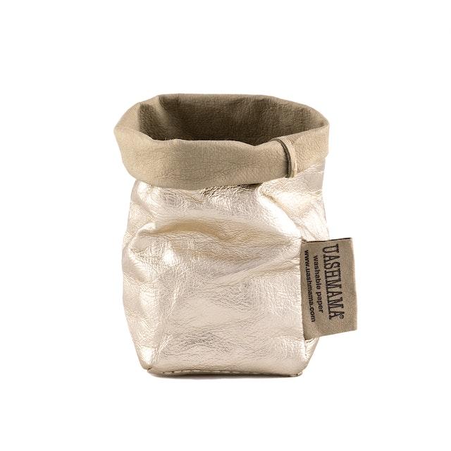 UASHMAMA Paper Bag Metallic Xsmall Sabbia/Platino