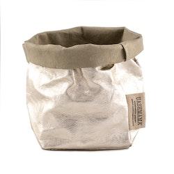 UASHMAMA Paper Bag Metallic Piccolo  Sabbia/Platino