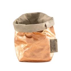 UASHMAMA Paper Bag Metallic Piccolo  Sabbia/Rosato