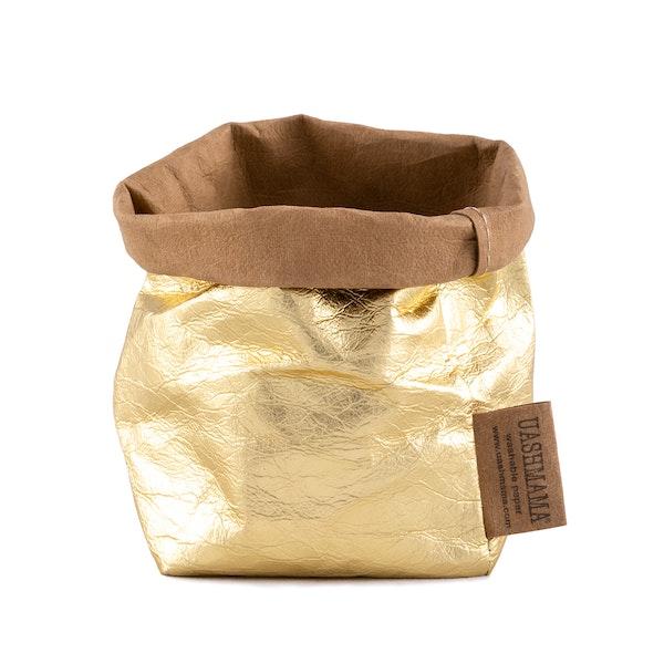 UASHMAMA Paper Bag Metallic Piccolo   Avana/Gold