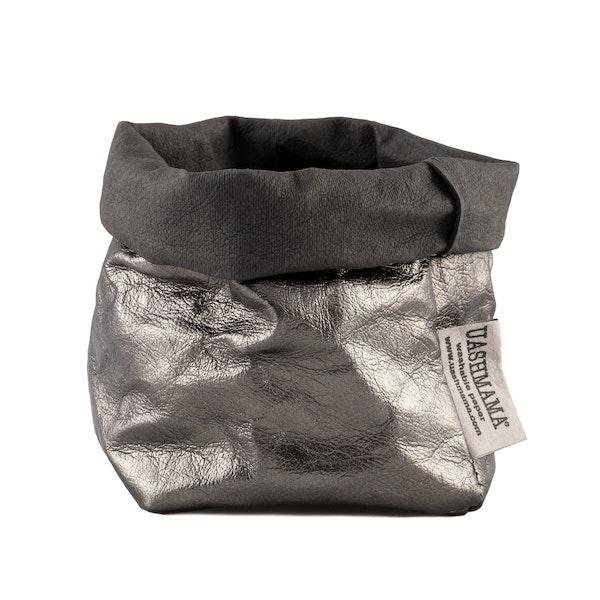 UASHMAMA Paper Bag Metallic Piccolo  Dark Grey/Peltro