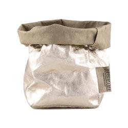 UASHMAMA Paper Bag Metallic Small   Sabbia/Platino