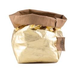 UASHMAMA Paper Bag Metallic Small    Avana/Gold