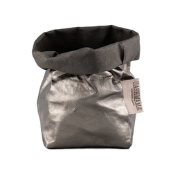 UASHMAMA Paper Bag Metallic Small   Dark Grey/Peltro