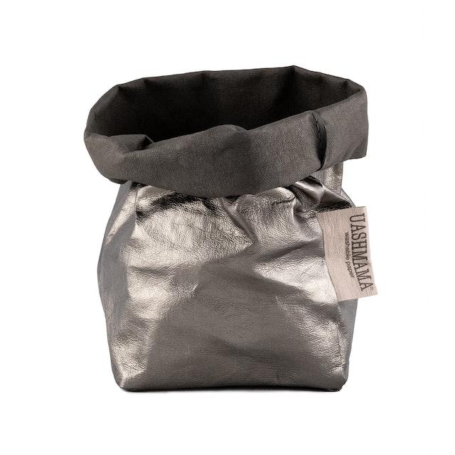UASHMAMA Paper Bag Metallic Small   Dark Grey/Peltro