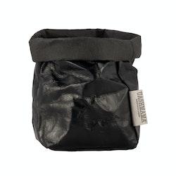 UASHMAMA Paper Bag Metallic Small   Metallic Black