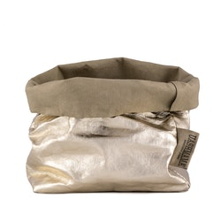UASHMAMA Paper Bag Metallic Medium   Sabbia/Platino