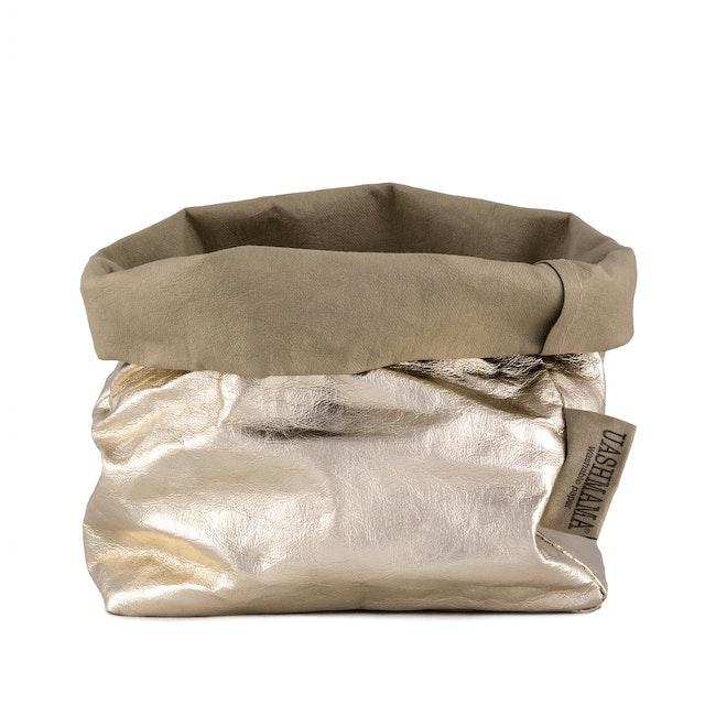 UASHMAMA Paper Bag Metallic Medium   Sabbia/Platino
