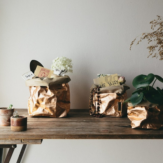 UASHMAMA Paper Bag Metallic Medium   Sabbia/Rosato
