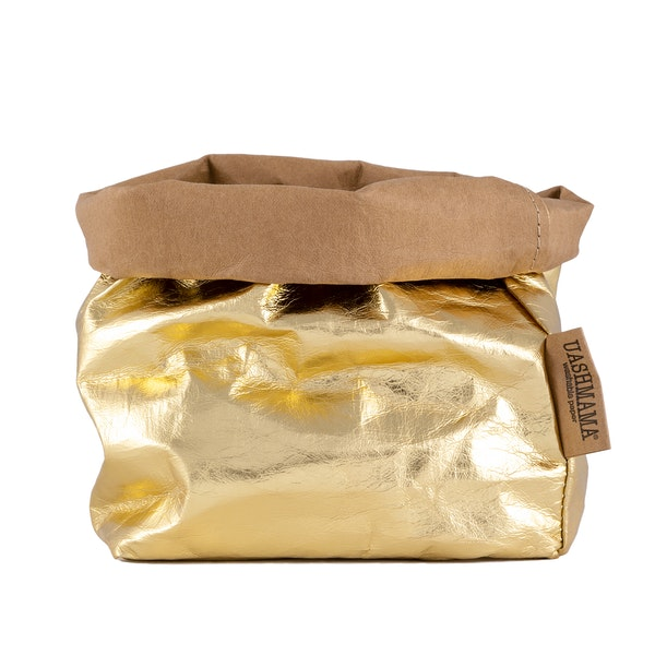 UASHMAMA Paper Bag Metallic Medium    Avana/Gold