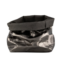 UASHMAMA Paper Bag Metallic Medium   Dark Grey/Peltro