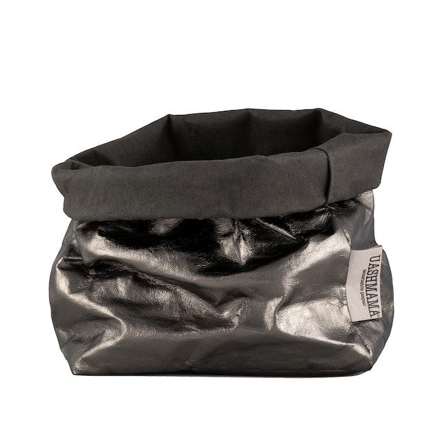 UASHMAMA Paper Bag Metallic Medium   Dark Grey/Peltro