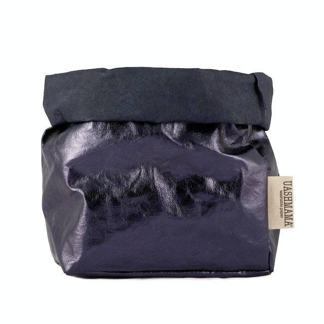 UASHMAMA Paper Bag Metallic Medium   Blue/Petrolio