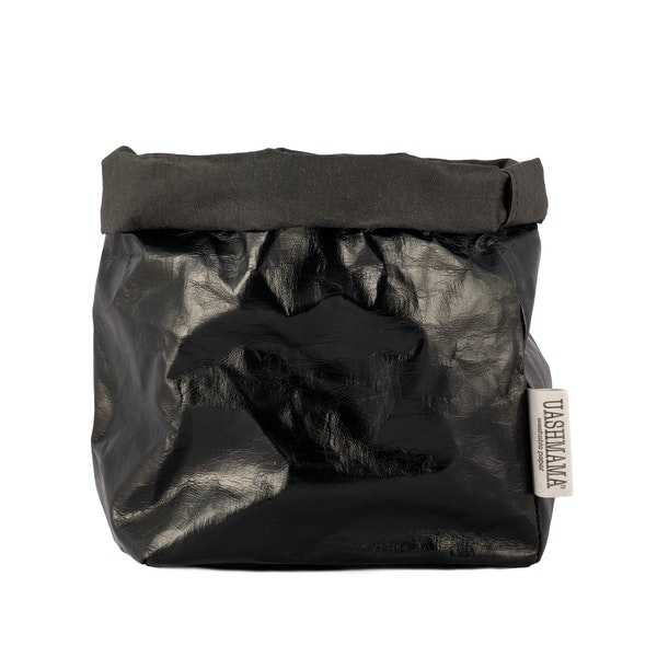 UASHMAMA Paper Bag Metallic Medium   Metallic Black