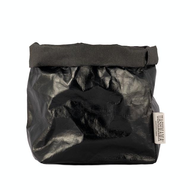 UASHMAMA Paper Bag Metallic Medium   Metallic Black
