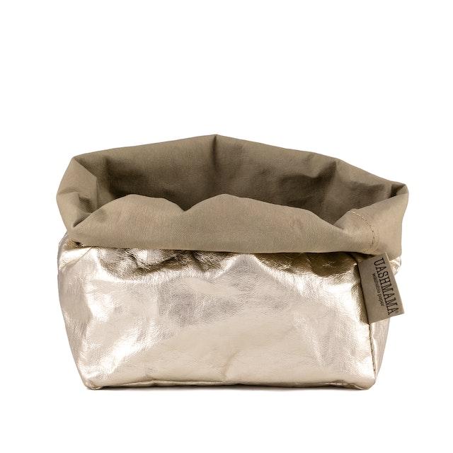 UASHMAMA Paper Bag Metallic Large   Sabbia/Platino