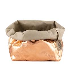 UASHMAMA Paper Bag Metallic Large   Sabbia/Rosato