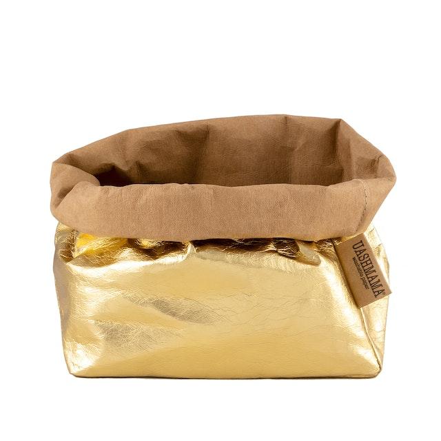 UASHMAMA Paper Bag Metallic Large    Avana/Gold