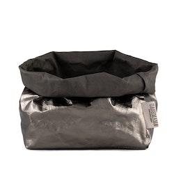 UASHMAMA Paper Bag Metallic Large   Dark Grey/Peltro