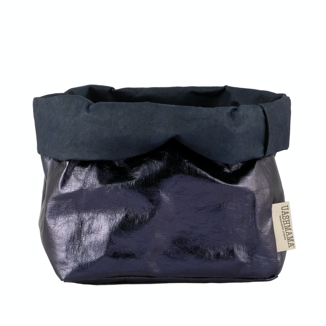 UASHMAMA Paper Bag Metallic Large   Blue/Petrolio