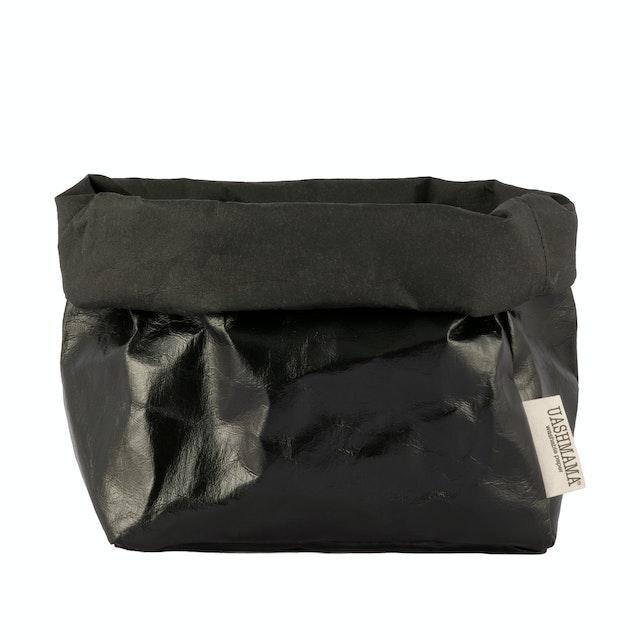 UASHMAMA Paper Bag Metallic Large   Metallic Black