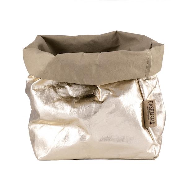 UASHMAMA Paper Bag Metallic Large Plus  Sabbia/Platino