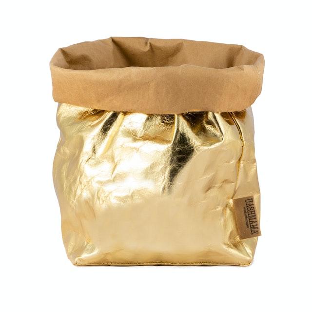 UASHMAMA Paper Bag Metallic Large Plus   Avana/Gold