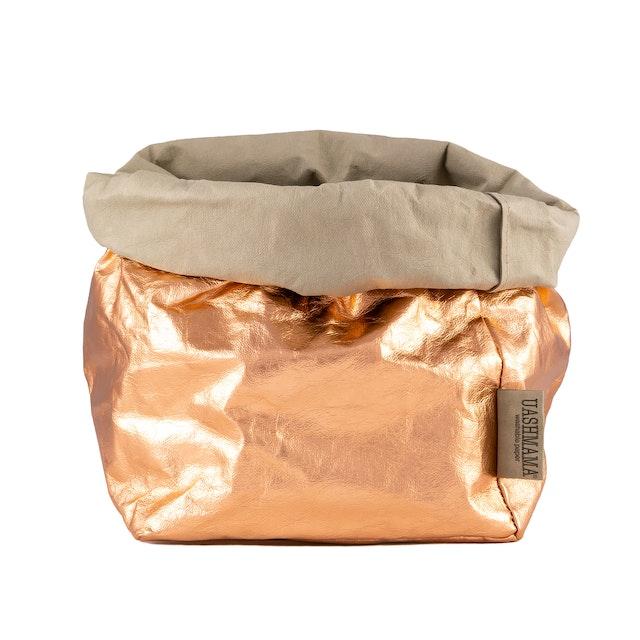 UASHMAMA Paper Bag Metallic Large Plus  Sabbia/Rosato