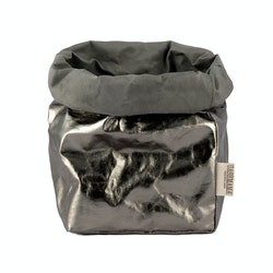 UASHMAMA Paper Bag Metallic Large Plus  Dark Grey/Peltro