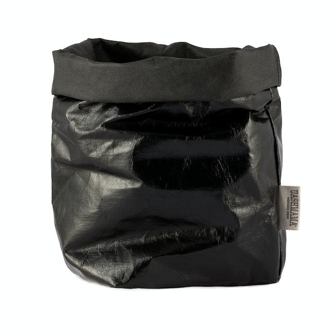 UASHMAMA Paper Bag Metallic Large Plus  Metallic Black