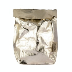 UASHMAMA Paper Bag Metallic Extra Large Sabbia/Platino