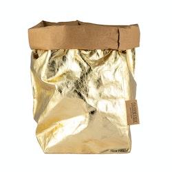 UASHMAMA Paper Bag Metallic Extra Large  Avana/Gold