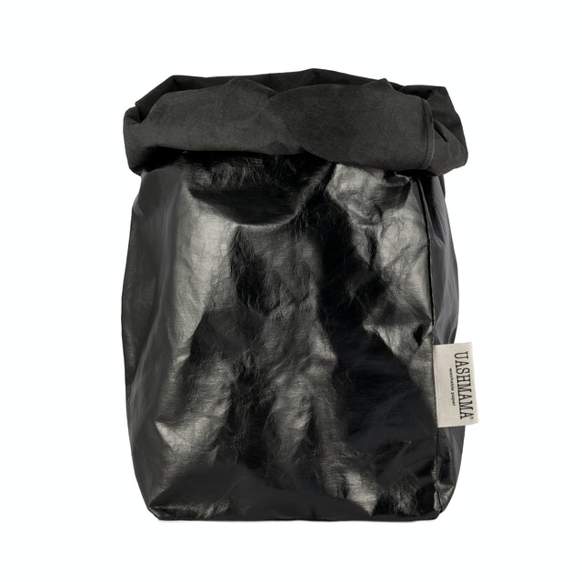 UASHMAMA Paper Bag Metallic Extra Large Metallic Black