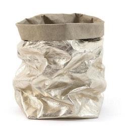 UASHMAMA Paper Bag Metallic Gigante Sabbia/Platino