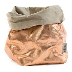 UASHMAMA Paper Bag Metallic Gigante Sabbia/Rosato
