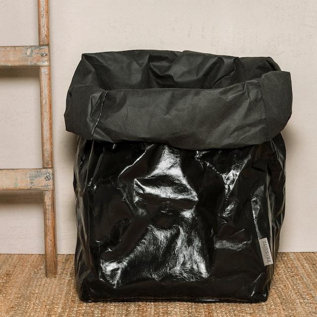 UASHMAMA Paper Bag Metallic Gigante Metallic Black