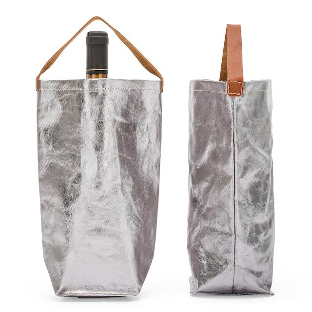 UASHMAMA Wine Bag Metallic Metallic Acciaio