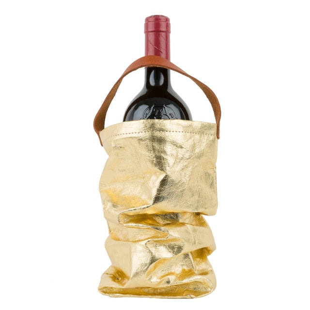 UASHMAMA Wine Bag Metallic Metallic Gold