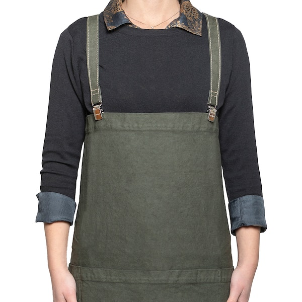 UASHMAMA Apron Dark Green